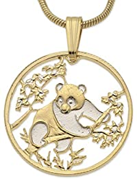 Chinese Panda Bear Pendant and Necklace, Hand Cut Chinese Coin, 14 Karat Gold and Rhodium Plated, 7/8