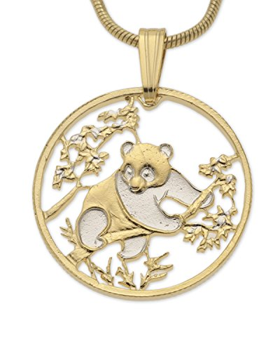 (Chinese Panda Bear Pendant and Necklace, Hand Cut Chinese Coin, 14 Karat Gold and Rhodium Plated, 7/8)