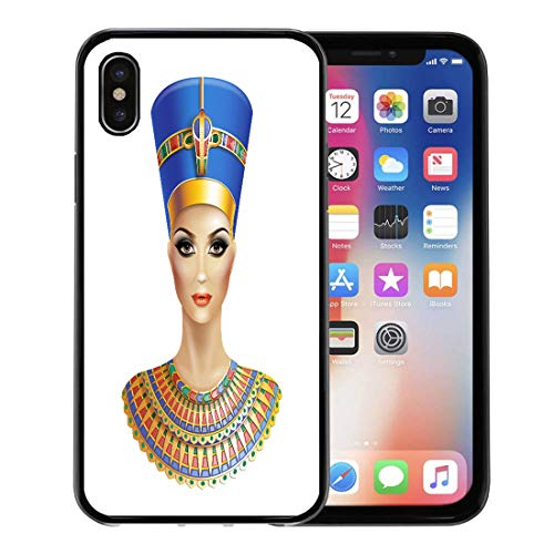 Semtomn Phone Case for Apple iPhone Xs case,Egypt Egyptian Queen Nefertiti Pharaoh Cleopatra Crown Pyramids Female for iPhone X Case,Rubber Border Protective Case,Black ()