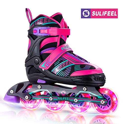 Sulifeel Arigena 4 Size Adjustable Light up Inline Roller Skates for Girls and Boys, Roller Blades for Kids and Women Adults Red Purple Green - Small(US 10-13)