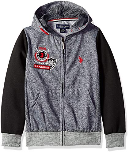U.S. Polo Assn. Big Boys' Hooded Zip or Snap Fleece Jacket, Colorblock Black, 18