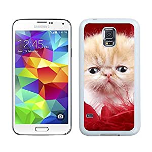 Personalized Red Fur Christmas Cute Cat Samsung Galaxy S5 White Silicone Case,Samsung I9600 Phone Case