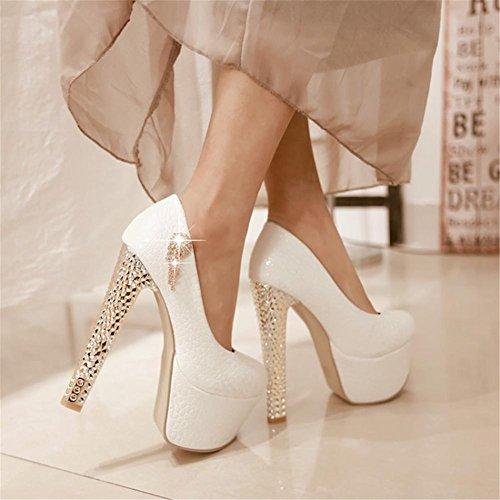 Mariée Strass Rouge De WHITE Femmes Plate EUR35UK3 Blanc Printemps Mariage Haute Chaussures Robe Soir Pompes Taille NVXIE Dames Forme Talon qX0wtw