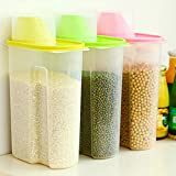 Kurtzy Cereal Rice Pasta Grains Plastic Dispenser Storage Box with Lid, 2500ml(Multicolour, 15X9X22cm) - Set of 3