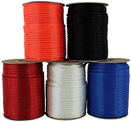 5//16 inch Anchors Multipurpose Braided Utility Cord Line Cargo Tie-Downs High Strength Solid Braid Crafts 50 feet - White Commercial Nylon Rope Blocks Pulleys SGT KNOTS Towing