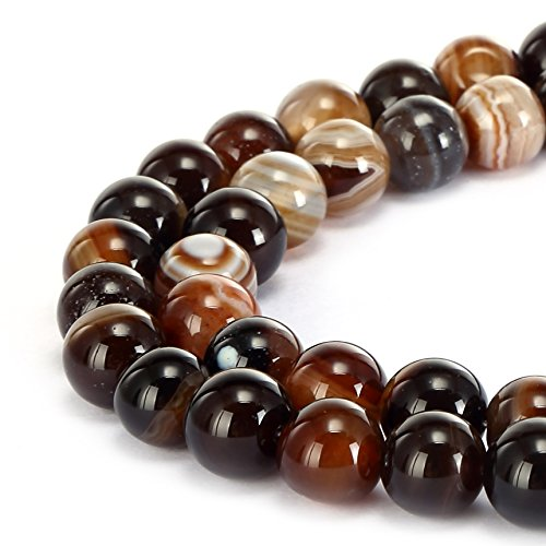 BRCbeads Gorgeous Natural Brown Stripe Agate Gemstone Smooth Round Loose Beads 8mm Approxi 15.5 inch 45pcs 1 Strand per Bag for Jewelry Making Brown Round Beads