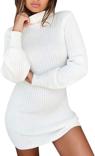 Femme Mode Pull Robe Elégant Tricoté Col Rond Manche Longue Mini Robe Noël
