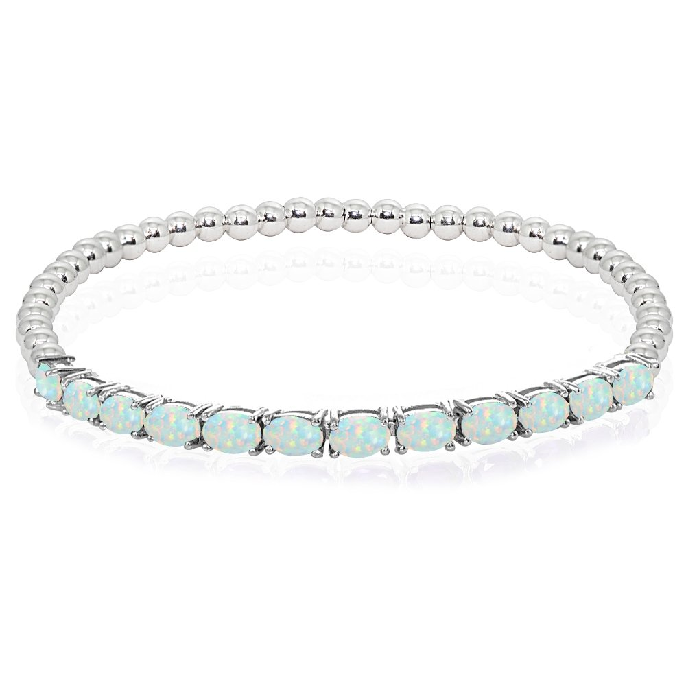 Sterling Silver Simulated White Opal Oval Beaded Stretch Tennis Style Bracelet