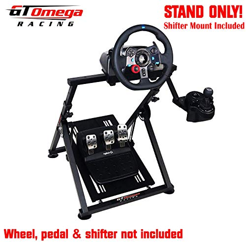 (GT Omega APEX Racing Wheel Stand for Logitech Fanatec Clubsport Thrustmaster Gaming Steering Wheel Pedal & Shifter Mount, TX T500 T300 G29 G920 PS4 Xbox, Foldable & Tilt-Adjustable for Racing Console)