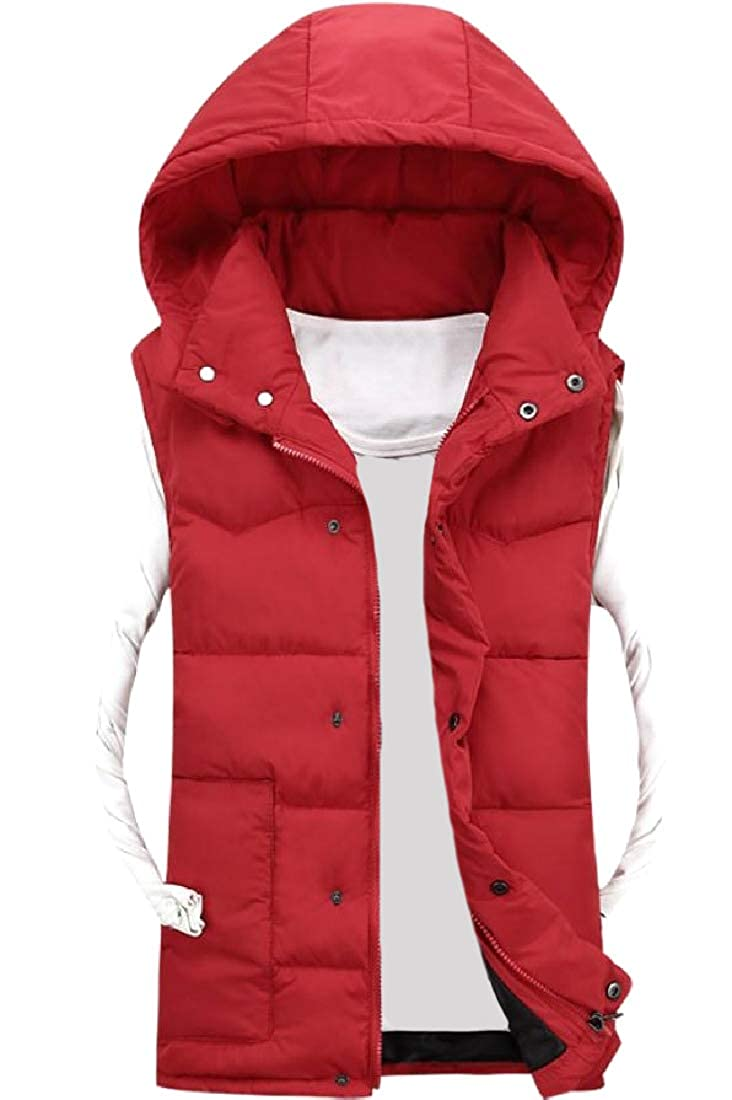 Doanpa Men Water-Resistant Press Button Puffy Vest with Pockets