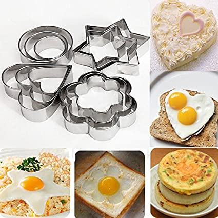 Moldes para galletas 12 piezas de metal Moldes para galletasmetal cortadores de galletas corazón estrella círculo
