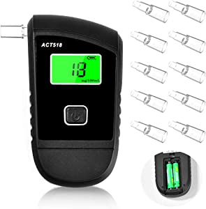 Breathalyzer, Breath Alcohol Tester for Personal & Professional Use, Breathalizer for Alcohol with 4 Mouthpieces