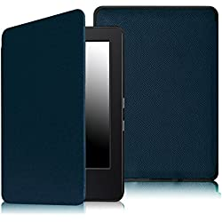 """Fintie SmartShell Case for Kindle 7th Gen - The Thinnest and Lightest Leather Cover for Amazon Kindle 6"""" Glare Free Touchscreen Display (7th Generation 2014 Model), Navy"""