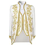 Cloud Style Men's Luxury Casual Dress Suit Slim Fit Stylish Blazer Coats Jackets & Vest & Trousers,White,X-Large