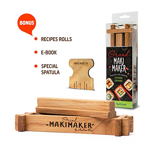 Sushi Making Kit by iSottcom for Chef and Beginners, Makimaker Grand Your Own Best Professional Chef Sushi Roll Kit , Japanese Rolls at Your Home with Sushi maker, Easy Making Oriental Food
