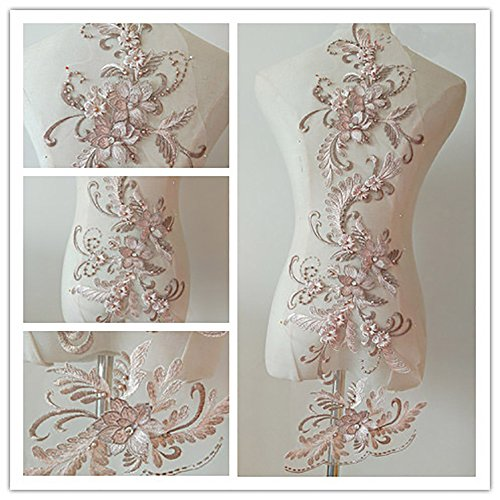 (3D beaded flower sequence lace applique motif sewing bridal wedding 3in1 20cmx72cm (Dusty Pink))