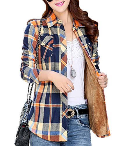 Lashapear Womens Winter Long Sleeve Fleece Plaid Shirt Flannel Warm Blouse, YellowBlue, TagM(US ()