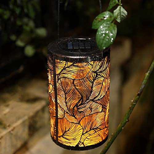 Solar Lantern Outdoor Solar Hanging Lanterns Solar Garden Lights Patio Decor Metal Yard Art Garden Accessories Outdoor Decorations for Porch (Feather)