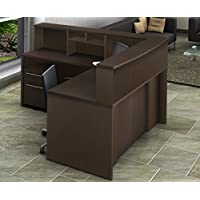 OfisLite 2066 Reception Center Desk Complete Group Including Mobile Filing Cart, Espresso, 5 Piece