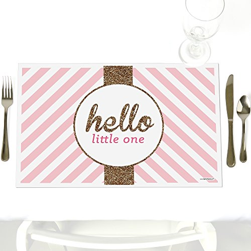 Hello Little One - Pink and Gold - Party Table Decorations - Girl Baby Shower Party Placemats - Set of 12