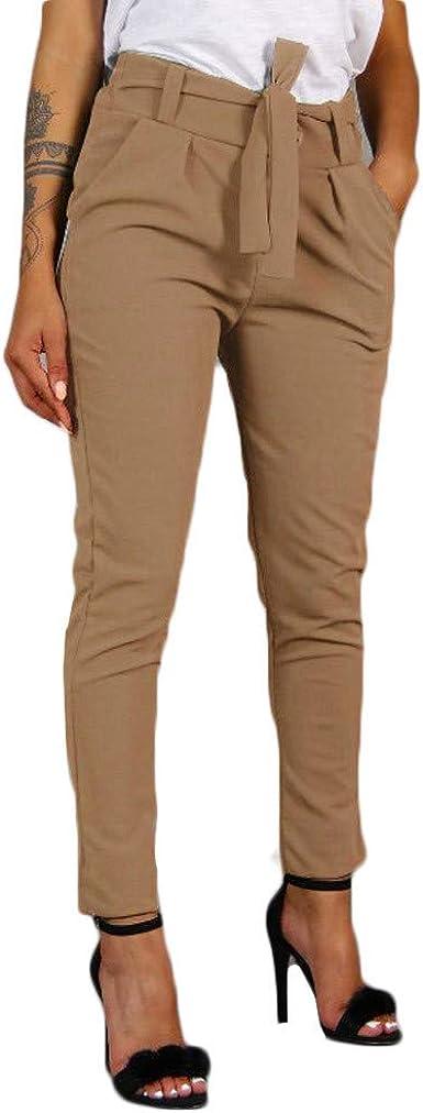 Risthy Mujer Pantalones Largos Ajustados Con Cinturon Pantalones Verano Mujeres Cintura Alta Pantalon De Oficina Color Solido Casual Suave Comodo Amazon Es Ropa Y Accesorios