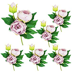 Lily Garden 6 Stems Artificial Peony Silk Flowers (Lavender) 59