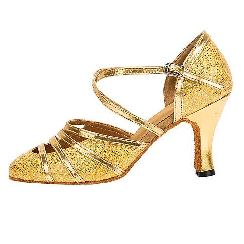 Golden Modern Professional T Golden Heel Women's Dance Q Shoes T Customized Paillette xxwPzZ