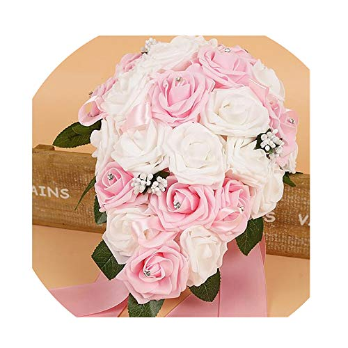 WodCht Beautiful Artificial Bridal Bouquets Crystal Bridesmaid Bridal Wedding Bouquets Water Drop Shaped -