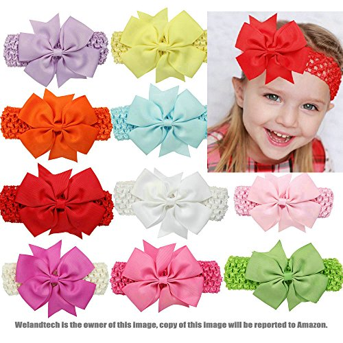 Welandtech Boutique Baby Girls Crochet Headbands Bows Hairband Set 10 Pack