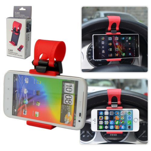 First2savvv universal Steering Wheel in Car Mount Clip Holder For ALCATEL SNAP FIRE PIXI SNAP LTE IDOL X IDOL S IDOL MINI POP C3 POP C5 POP C1 HERO POP C7