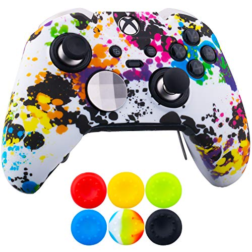 (9CDeer 1 x Protective Customize Transfer Print Silicone Cover Skin Graffiti + 6 Thumb Grips Analog Caps for [Xbox One Elite] Controller Compatible with Official Stereo Headset Adapter)