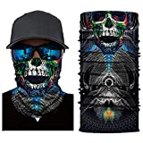 Palalibin 3D Printed Cycling Face Mask Motorcycle Head Scarf Neck Warmer Ski Balaclava Headband 24CM X 49CM (B, Free)