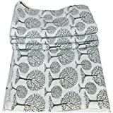 Maviss Homes Dress Making Hand Block Printed Fabric Indian Cotton Craft Sewing Material Supplies Fabric 5 Yard (White)