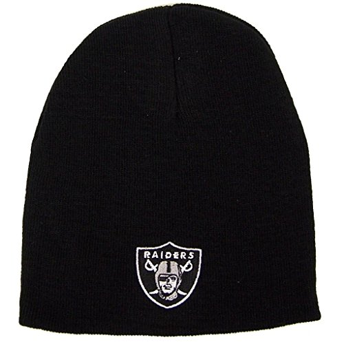 Reebok Oakland Raiders Uncuffed Embroidered Logo Winter Knit Beanie Hat - Black ()