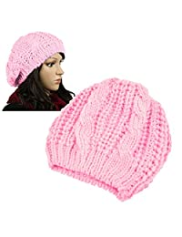 Insten Women Knit Crochet Hat, Pink