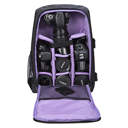 Camera Backpack Waterproof by G-raphy for DSLR/SLR Cameras (Canon, Nikon, Sony and etc), Laptops, Tripods, Flashes, Lenses and Accessories (Purple)