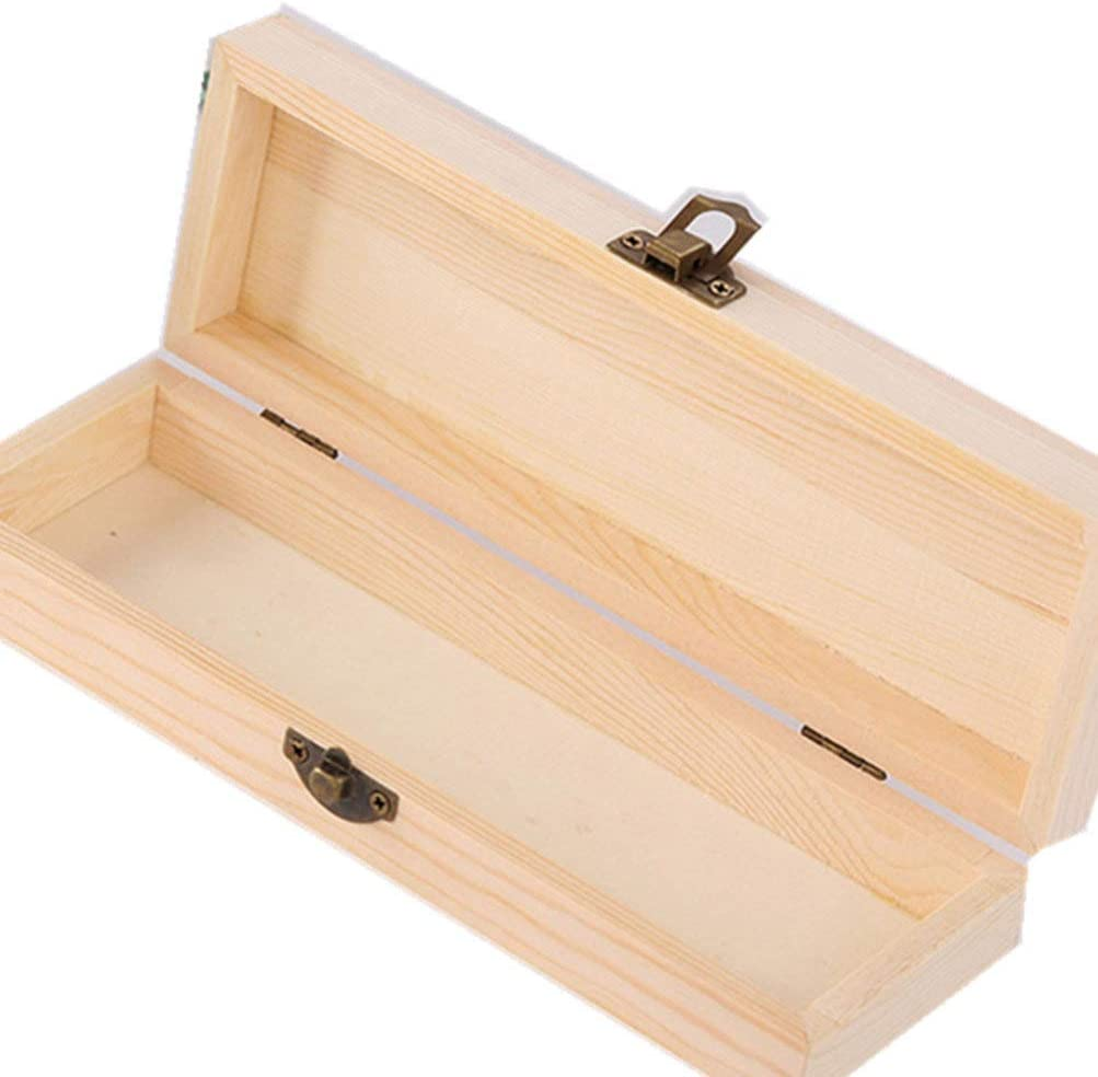 Exceart 2pcs Unfinished Wood Box with Clasp Unpainted Rectangle DIY Pencil Box Artist Tool and Brush Storage Box