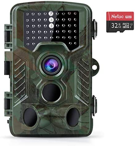 Coolife Trail Game Camera, 21MP 1080P Hunting Wildlife Camera with 3 Infrared Sensors 49Pcs IR LEDs Night Vision 0.2S Motion Activated IP67 Waterproof 2.4 LCD with 32GB Card