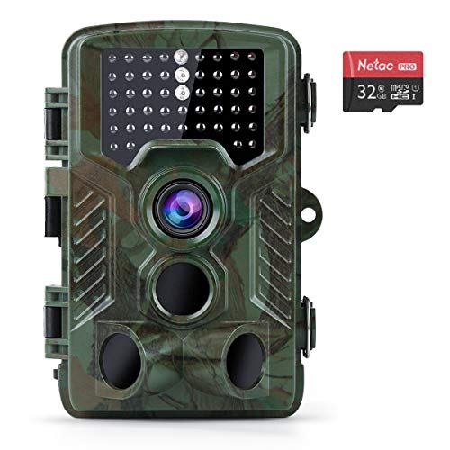 "Coolife Trail Game Camera with 32GB Card, 16MP 1080P Hunting Wildlife Camera with 3 Infrared Sensors 49Pcs IR LEDs Night Vision 0.2S Motion Activated IP67 Waterproof 2.4"" LCD"