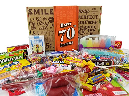 VINTAGE CANDY CO. 70TH BIRTHDAY RETRO CANDY GIFT BOX - 1948 Decade Nostalgic Childhood Candies - Fun Gag Gift Basket for Milestone SEVENTIETH Birthday - PERFECT For Man Or Woman Turning 70 Years Old by Vintage Candy Co.
