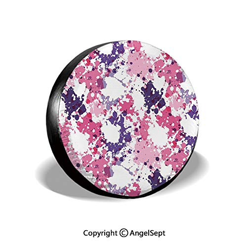 Spare Tire Cover,Pattern with Paint Blobs Splashes Stained Dirty Look Watercolor Abstract Design,Pink Purple White,for Jeep,Trailer, RV, SUV and Many Vehicle - Pattern Mlb Sox