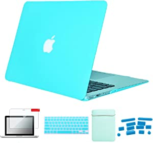 "Se7enline MacBook Air 13 inch Accessories 5 in 1 Bundle Soft-Touch Plastic Hard Case Cover for MacBook Air 13"" A1369/A1466 Sleeve Bag, Keyboard Skin, LCD Screen Protector,Dust Plugs, Turquoise Blue"