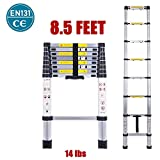 Telescopic Ladder EN131 Lightweight Aluminum Telescoping Ladder-Max Load 330 lbs,Nineaccy Extension Ladders for Home,Outdoor and Business etc. [Step A +++] (8.5FT/2.6M)