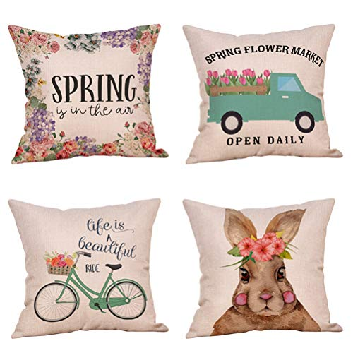 4 Pack Hello Spring Quotes Floral Wreath Decorative Pillow Covers Vintage Truck Bicycle Loads of Fresh Flowers Easter Bunny Throw Pillow Case Cotton Linen 18x18 Inch Farmhouse Spring Home Decor Easter Spring Home Decor