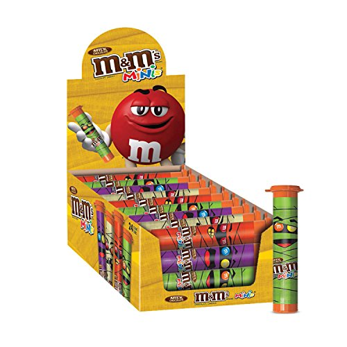 M&M'S Halloween Milk Chocolate MINIS Size Candy 1.77-Ounce Tube (Pack of 24) (M S Halloween)