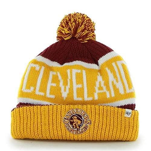 "Cleveland Cavaliers Gold Cuff ""Calgary"" Beanie Hat with Pom - NBA Cavs Cuffed Winter Knit Toque Cap"