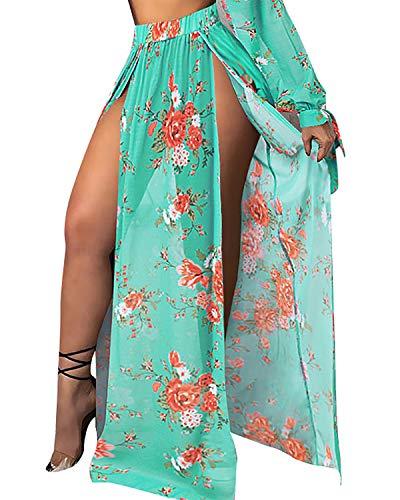 BIUBIU Cover Up Skirt Dress,Fashion Sexy There Piece Bikini Set Floral Printed Cover Up Beach Skirt Green Skirt L ()