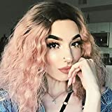 Clearance Sale! Short Wavy Lace Front Wigs for Black Women Ombre Curly Human Hair Heat Resistant Synthetic Fiber Costume Daily Party Middle Part Wig (Pink)