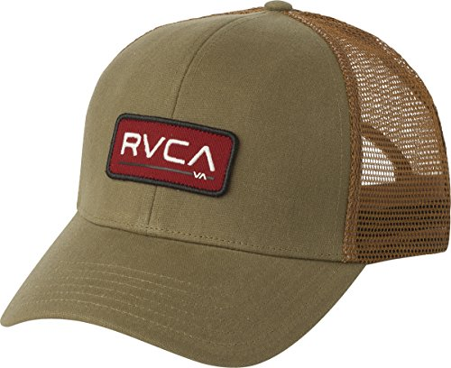 RVCA Men's Ticket Trucker Hat, Dark Khaki, One Size