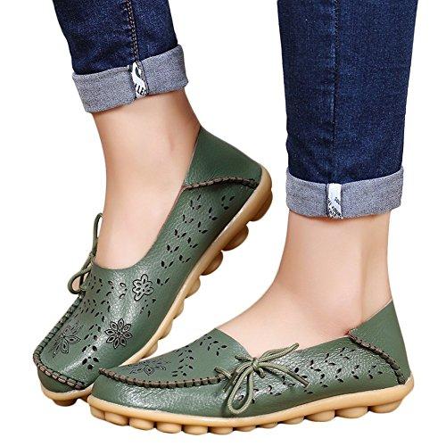 Ofenbuy Mocasines De Cuero Para Mujer De Piel De Vaca Ahueca Hacia Fuera Los Deslizadores Deslizantes Ocasionales Que Conducen Los Zapatos Planos Armygreen